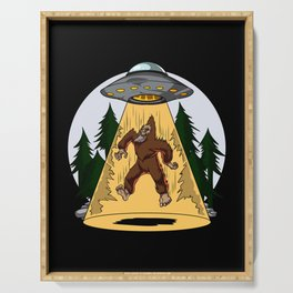 Alien Abduction Bigfoot UFO Serving Tray