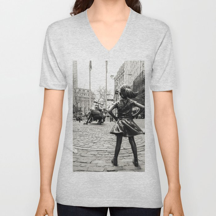 Fearless Girl & Bull - NYC Unisex V-Neck
