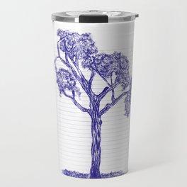 Blue Pen Hand Drawn Tree Travel Mug