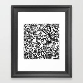black & white doodle Framed Art Print