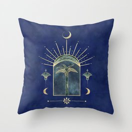 Palm Tree Oriental Moon Magical Moment Throw Pillow