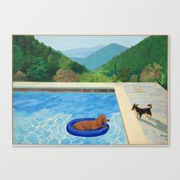 portrait of a dog (pool with two dogs) Canvas Print