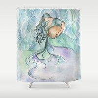 aquarius Shower Curtains featuring Aquarius by Aline Souza de Souza