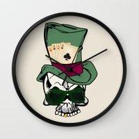 poker Wall Clocks featuring Poker Face by Ewan Arnolda