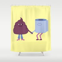 poop Shower Curtains featuring SBF: Poop & Toilet Paper by Mauro Gatti