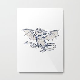 Basilisk Crowing Metal Print
