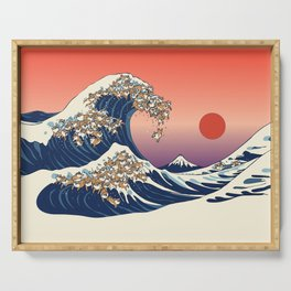 The Great Wave of Shiba Inu Serving Tray