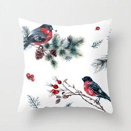 Winter Bullfinch Scene Gold Glitter Merry Christmas Throw Pillow