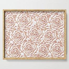 Elegant romantic rose gold roses pattern image Serving Tray