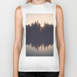 Wooded Lake Reflection  - Nature Photography Biker Tank