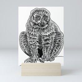 Brown lemur - ink illustration Mini Art Print