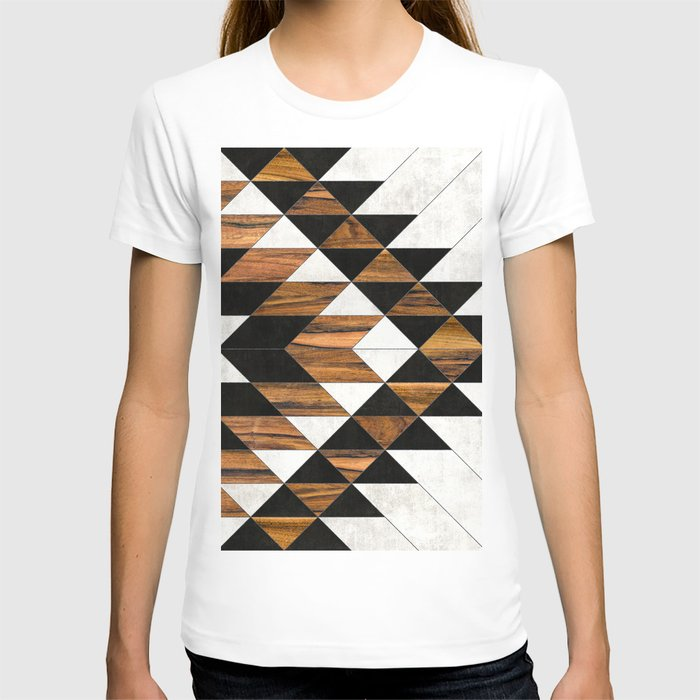 Urban Tribal Pattern No.9 - Aztec - Concrete and Wood T-shirt