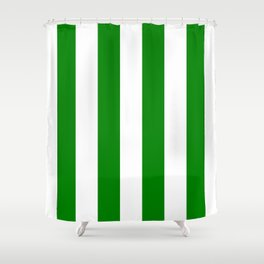 Vertical Stripes - White and Green Shower Curtain