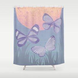 Moonrise Meadow Butterflies Shower Curtain
