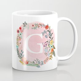 Flower Wreath with Personalized Monogram Initial Letter G on Pink Watercolor Paper Texture Artwork Coffee Mug