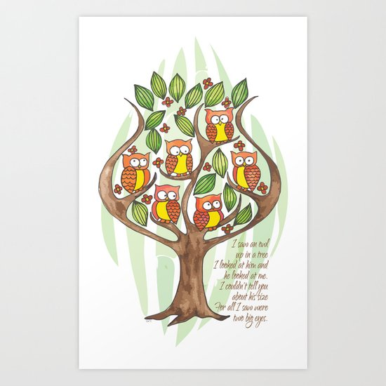 Owl Tree Art Print