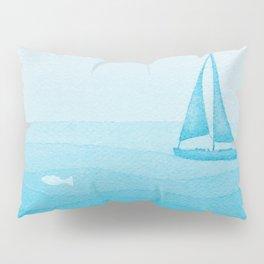 sailboat art illustration Pillow Sham