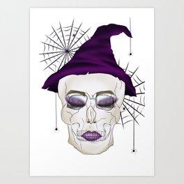 Creepy Halloween Skull Witch Art Print