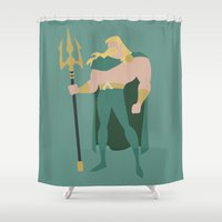 aquaman Shower Curtains featuring Aquaman by karla estrada