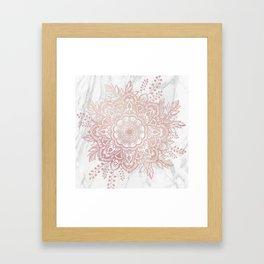 Queen Starring of Mandala-White Marble Framed Art Print