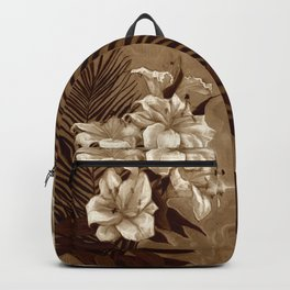 White Lilies and Palm Leaf in brownscale Backpack
