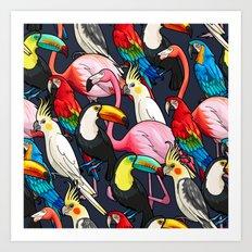 Exotic Bird Tropical Pattern Art Print