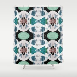 Teal Blue White On Black Abstract Shower Curtain