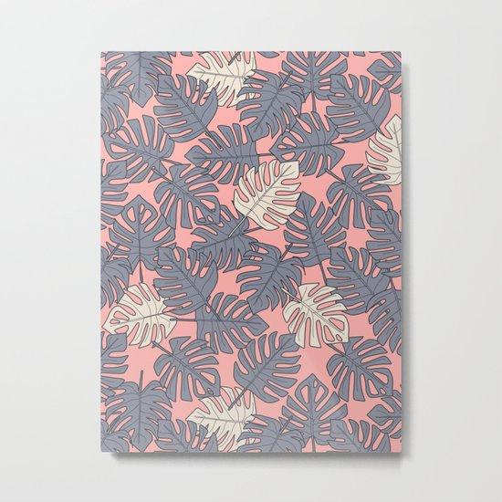 Monstera Peach Pattern Metal Print
