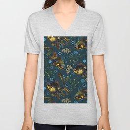Colorful Black Moor Goldfish Pattern Unisex V-Neck