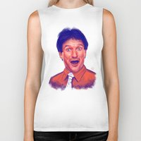 robin williams Biker Tanks featuring Young Robin Williams  by Thubakabra