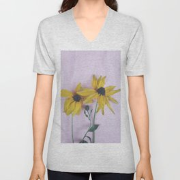 Yellow two flowers Unisex V-Neck