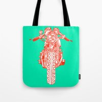 cafe racer Tote Bags featuring Cafe Racer front view by Paul McCreery