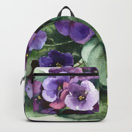 Senpolia viola violet flowers watercolor Backpack