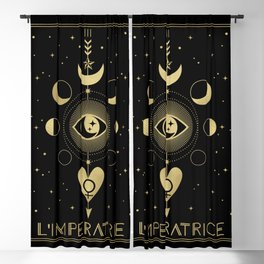 L' Imperatrice or The Empress Tarot Gold Blackout Curtain