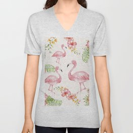Flamingos Unisex V-Neck