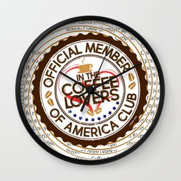 Coffee Lovers of America Club by Jeronimo Rubio 2016 Wall Clock