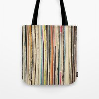 record Tote Bags featuring Record Collection by Cassia Beck