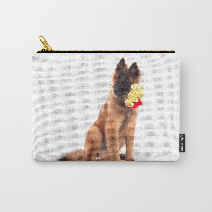 Puppy with roses  Carry-All Pouch