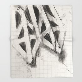 Charcoal Rubbing of Copper Stencil Throw Blanket