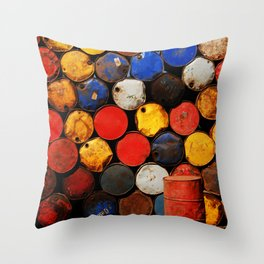 Gasoline Rusty Tin Cans Pattern Throw Pillow
