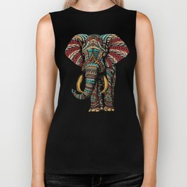Ornate Elephant (Color Version) Biker Tank