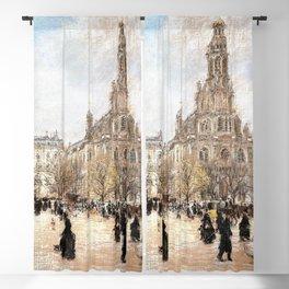 12,000pixel-500dpi - Place de la Trinite, Paris - Jean-Francois Raffaelli Blackout Curtain