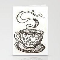whisky Stationery Cards featuring She drinks whisky in a tea cup by grishpradip