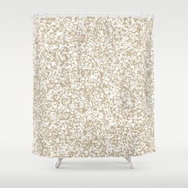 Tiny Spots - White and Khaki Brown Shower Curtain