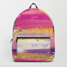 Pink Purple Gold Paint Brush Strokes Backpack