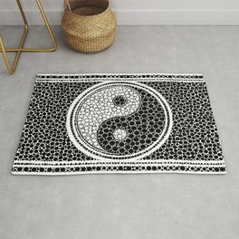 Yin and Yang Dot Art Black and white Rug