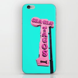 Cha-Cha's Tacos Retro Vintage Pink Sign iPhone Skin