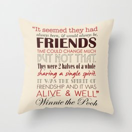 Winnie the Pooh Friendship Quote - Tan & Red Throw Pillow