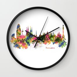 Barcelona Watercolor Skyline Wall Clock