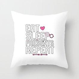 Eat Sleep Presents Repeat Throw Pillow